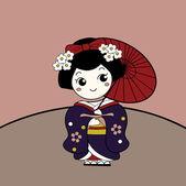 Cute Asian Girl Character — Stock Vector