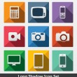 longue ombre icon set, smart devices — Vecteur