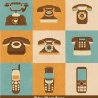 Retro Phone Icons — Vector de stock