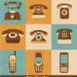 Retro Phone Icons — Stok Vektör