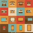 Retro Media Icons of Phones Cameras Televisions and Smart Devices — Stock Vector #29548947