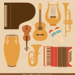 Retro Musical Instruments Set — Stock Vector