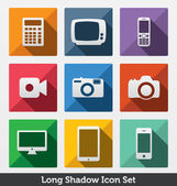 Long Shadow Icon Set, Smart Devices — Stock Vector
