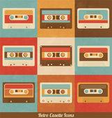 Retro Cassette Icons — Stock Vector