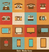 Retro Media Icons of Phones Cameras Televisions and Smart Devices — Vettoriale Stock