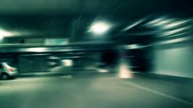 Crazy drive in underground garage — Stock Video