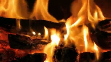 Closeup of Flame in a fireplace — Stock Video