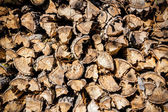Wood in pile outdoor — Stock Photo