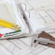 Architectural plans of the old paper measuring tools and file with the proj — Stock Photo