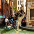 16. Jul 2012 - Heavy traffic of gondolas on the canal in Venice — Stock Photo