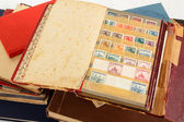Philatelic stamp collection albums — Stock Photo