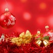 Red christmas balls background — Stock Photo #15363575