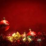 Dark red christmas balls background — Stock Photo