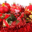 Stock Photo: Red christmas balls and decorations on white