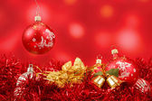 Red christmas balls background — Stock Photo