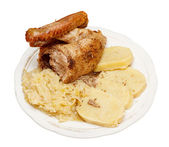 Traditional czech roasted duck with cabbage and dumplings — Stock Photo