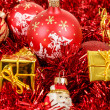 Red christmas balls and decorations — Stock Photo #15763121