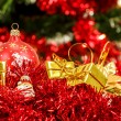 Stock Photo: Red christmas balls and decorations