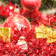Red christmas balls and decorations — Stock Photo #15763143
