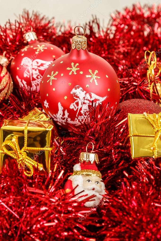 Red christmas balls golden boxes and decorations  — Stock Photo #15763121