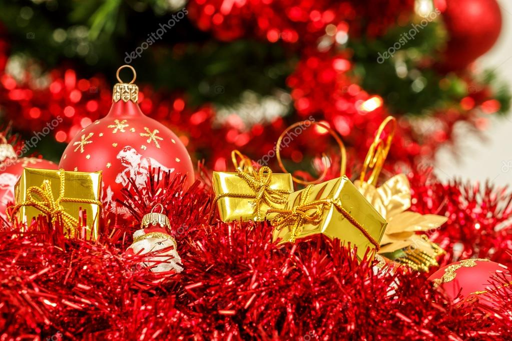 Red christmas balls golden boxes and decorations  — Stock Photo #15763127