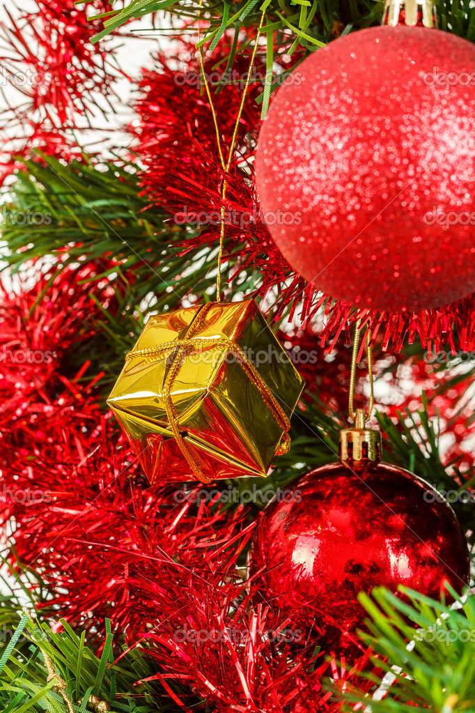 Detail of decorated christmas tree with red balls  Stock Photo #15763129