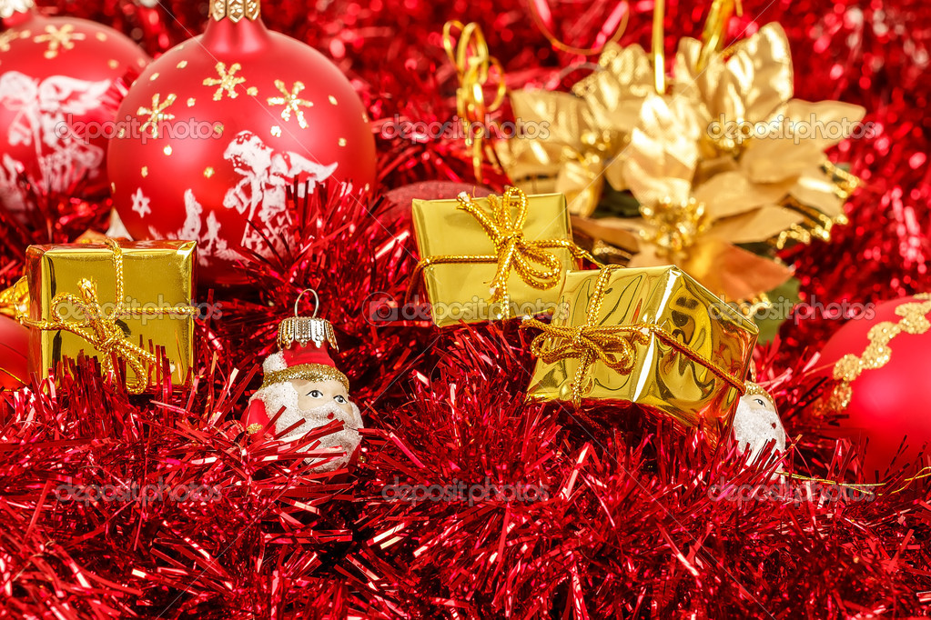 Red christmas balls golden boxes and decorations  — Stock Photo #15763131