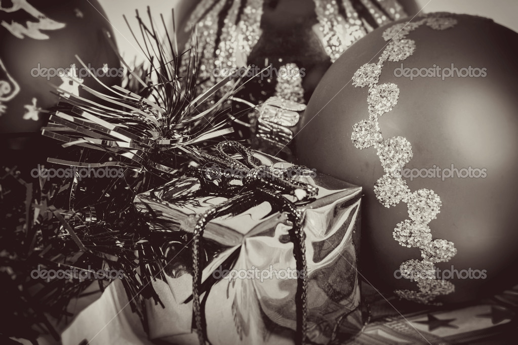 Black and white toned christmas balls and box — Stock Photo #15763139