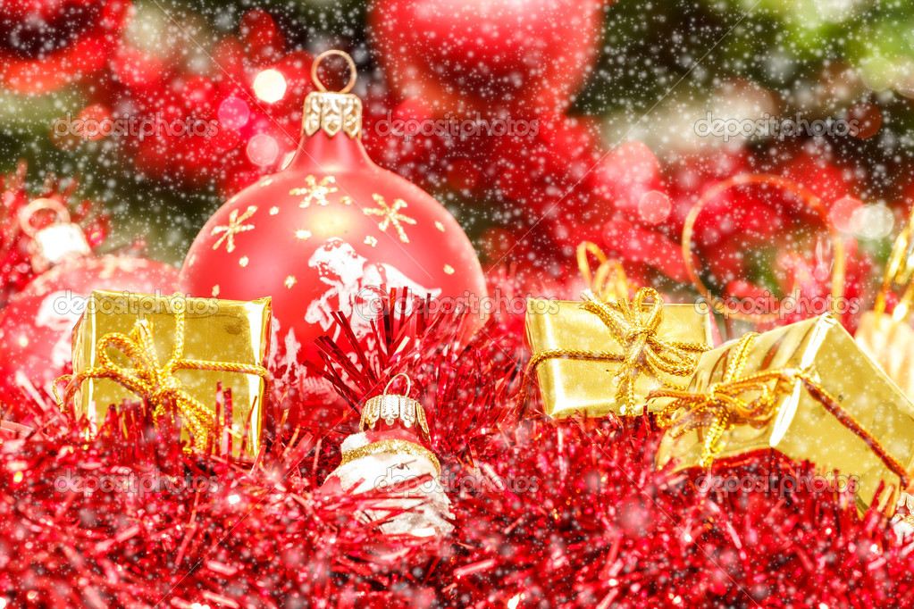 Red christmas balls golden boxes and decorations  — Stock Photo #15763143
