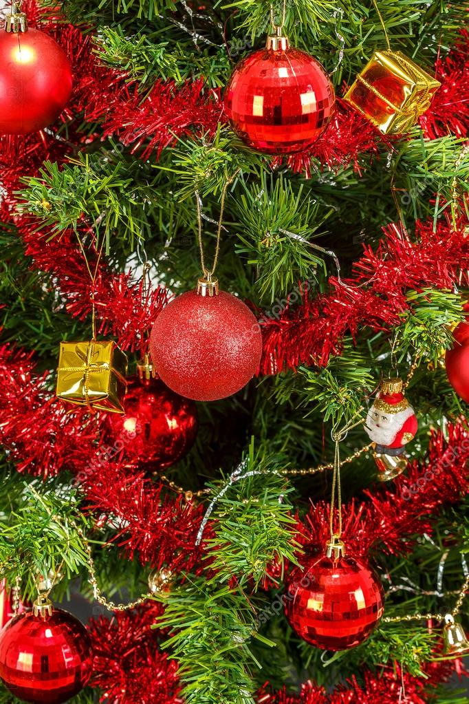 Detail of decorated christmas tree with red balls — Stock Photo #15763169