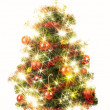 Decorated christmas tree with stars on white background — Stock Photo
