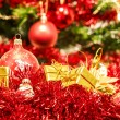 Red christmas balls and decorations — Stock Photo #16301119
