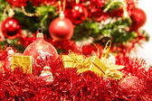 Red christmas balls and decorations — Stockfoto