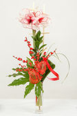 Bouquet of pink lily flower in vase on white — Stock Photo