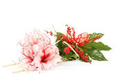 Bouquet of pink lily flower on white — Stock Photo