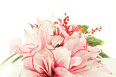Detail of bouquet of pink lily flower on white — Stock Photo