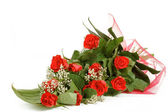 Bouquet of fresh red roses on white — Stock Photo