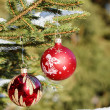 Christmas balls on outdoor snowy tree — Stock Photo