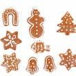 Stock Photo: Christmas gingerbreads on white background