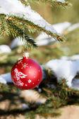Boules de noël sur arbre enneigé extérieur — Photo