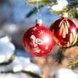 Christmas balls on outdoor snowy tree — Stock Photo #17417023