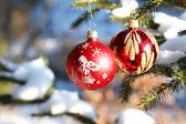Christmas balls on outdoor snowy tree — Foto de Stock