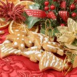 Christmas background with needles. orange slices and gingerbreads — Stock Photo #17876731