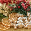 Stock Photo: Christmas background with needles. orange slices and gingerbreads