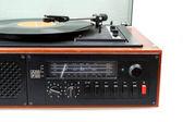 Vintage radio gramophone player with vinyl — Stock Photo