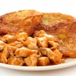 Potato pancakes with chicken meat — Stock Photo