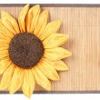 Sunflower decoration on wooden table setting background — Stock Photo #21332267