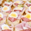 Stock Photo: Homemade sandwich with egg and sausage