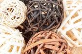 A decorative wicker wooden balls — Stock Photo