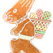 Easter bunny gingerbread on white — Stock Photo